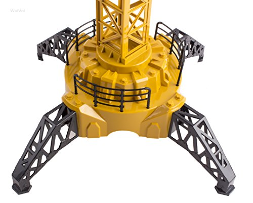50 inch Tall Wired Remote Control Crawler Crane Toy for Boys, Log & Bucket Lift Up Construction Activity Playset, with Working Tower Light - Adjustable Height