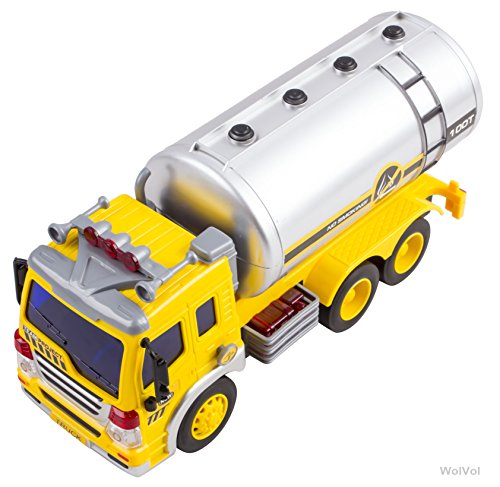 Friction Powered Oil Tanker Truck Toy with Lights and Sounds for Kids