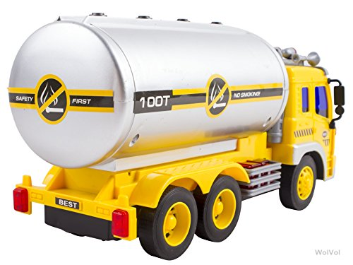 WolVol Friction Powered Oil Tanker Truck Toy with Lights and Sounds for Kids
