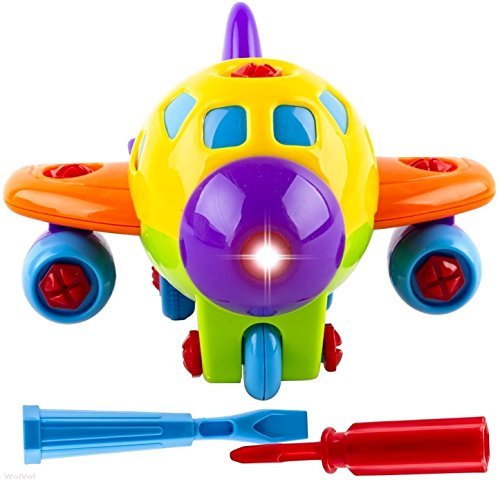 Take-A-Part Toy Airplane with Lights and Sounds for Kids, Equipped with Two Screwdriver Tools for Assembly