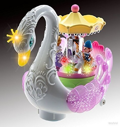Beautiful Musical Rotating Horses Carousel Music Box on Self Riding Swan Animal, Lights and Sounds, Bump and Go Action