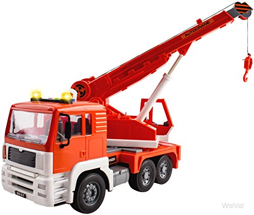 Friction Powered Construction Crane Truck Toy with Lights and Sounds for Kids, Crane arm can Expand to 18 inches