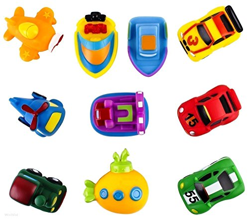 Pack of 10 Kids Bath Toys Floating Bathtub Toy Cars Train Boat Aircraft Vehicles