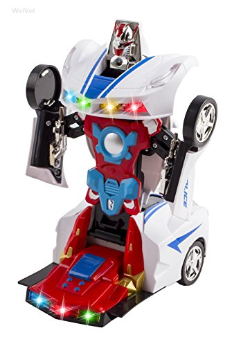 Transformers Robot Police Car Toy with Lights and Sounds for Kids, with Bump and Go Action