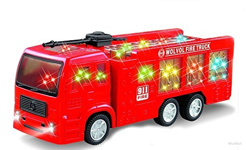Electric Fire Truck Toy Stunning 3D Lights Sirens, goes around changes directions on contact - Great Gift Toys Kids
