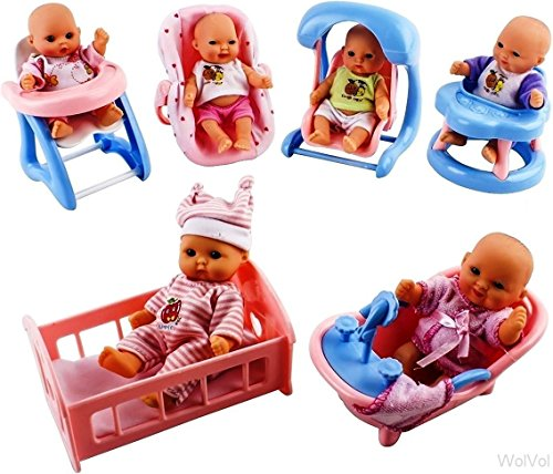 Set of 6 Mini Dolls for Girls with Cradle, High Chair, Walker, Swing, Bathtub, Infant seat