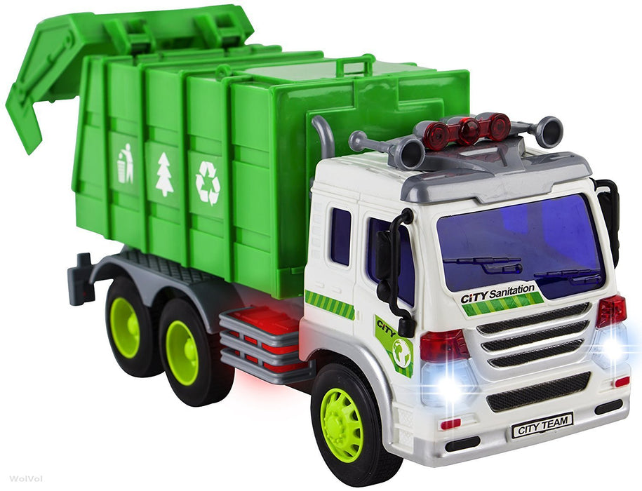 Friction Powered Garbage Truck Toy with Lights and Sounds for Kids