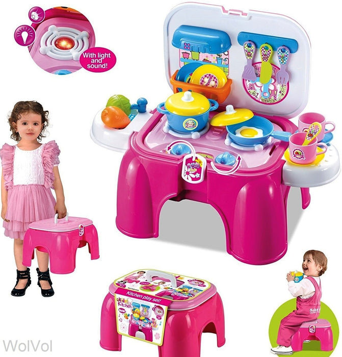 2-in-1 Kids Kitchen Cooking Set Toy with Lights and Sounds, Folds into Sitting Step Stool