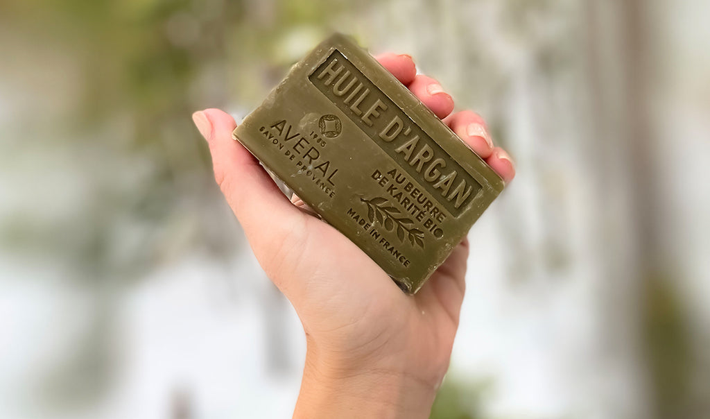Hand holding Argan Oil Averal French Soap