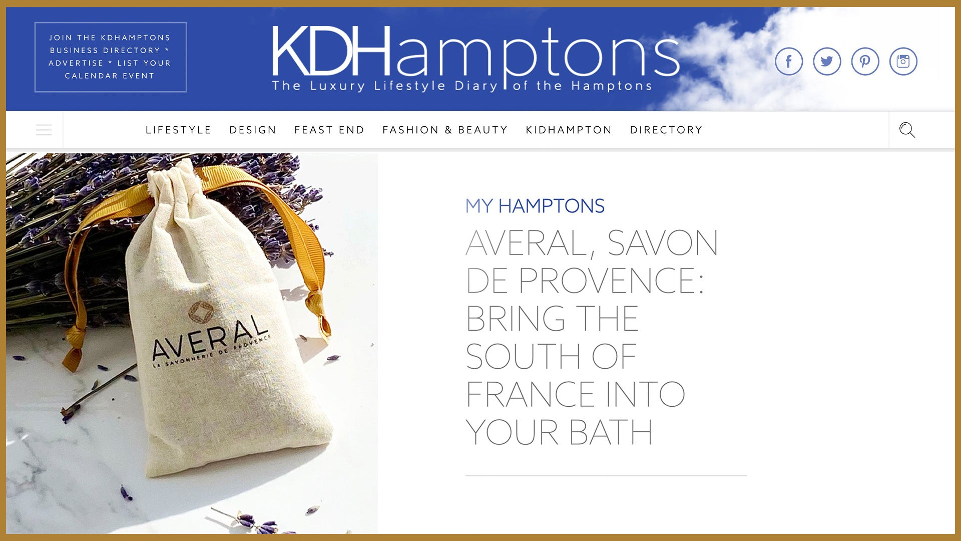 KD Hamptons loves our soaps from France to your Bath: Averal Provence