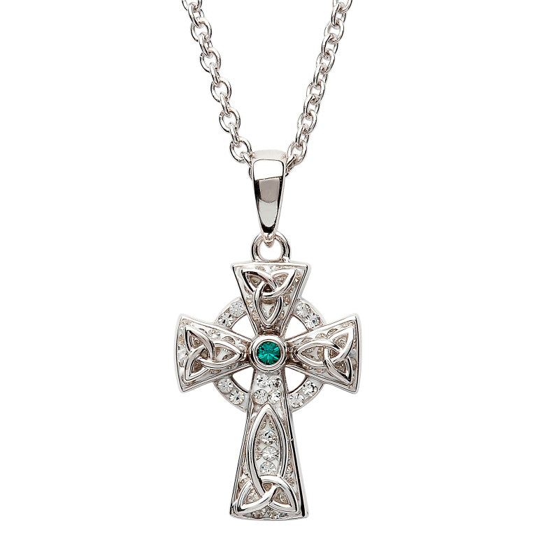 SW65 Celtic Trinity Knot Cross with Green Stone and Adorned With Swarovski Crystals by Shanore