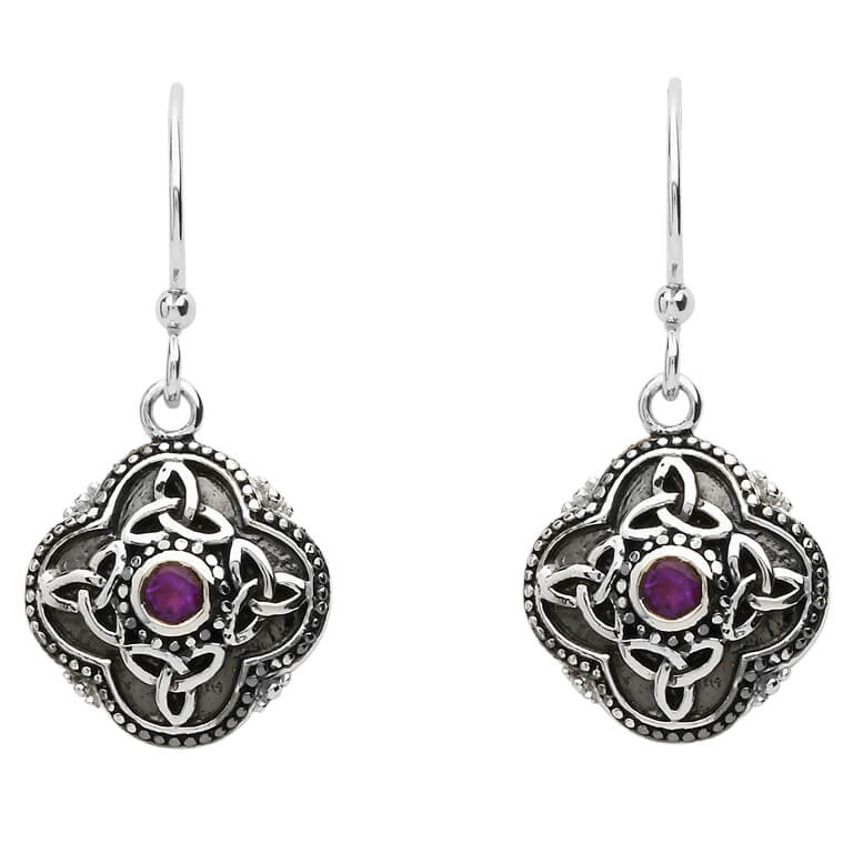 SE2210AY Celtic Tribal Silver Trinity Knot Earrings by Shanore