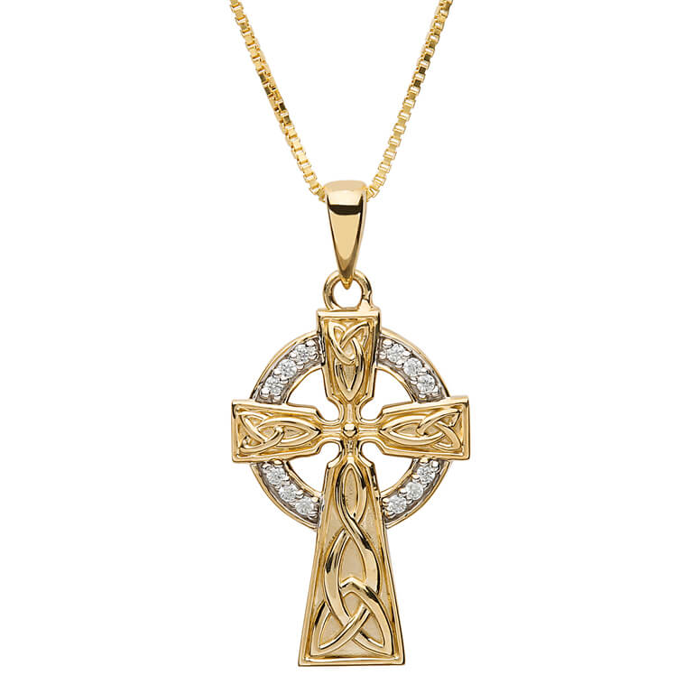 10P655 - 10K Gold Stone Set Trinity Celtic Cross by Shanore