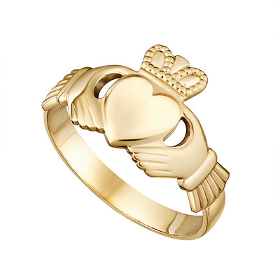 14K Gold Gents Claddagh Ring - S2233