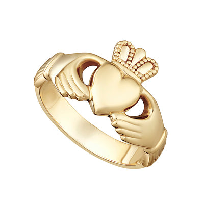 14K Heavy Gold Gents Claddagh Ring - S2270