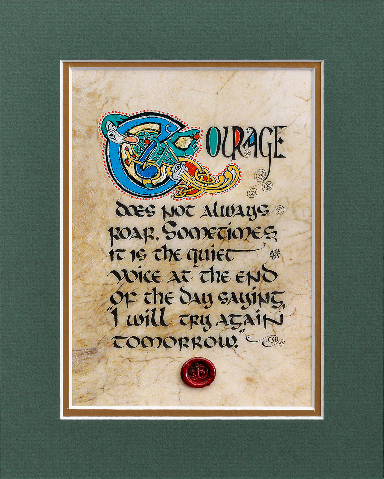 Courage - Double Matted Celtic Art Print