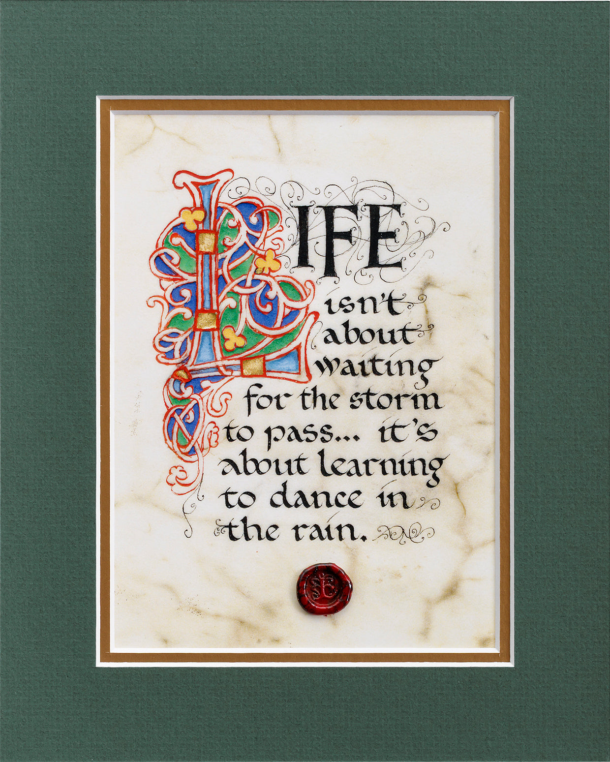 Dance In The Rain - Double Matted Celtic Art Print