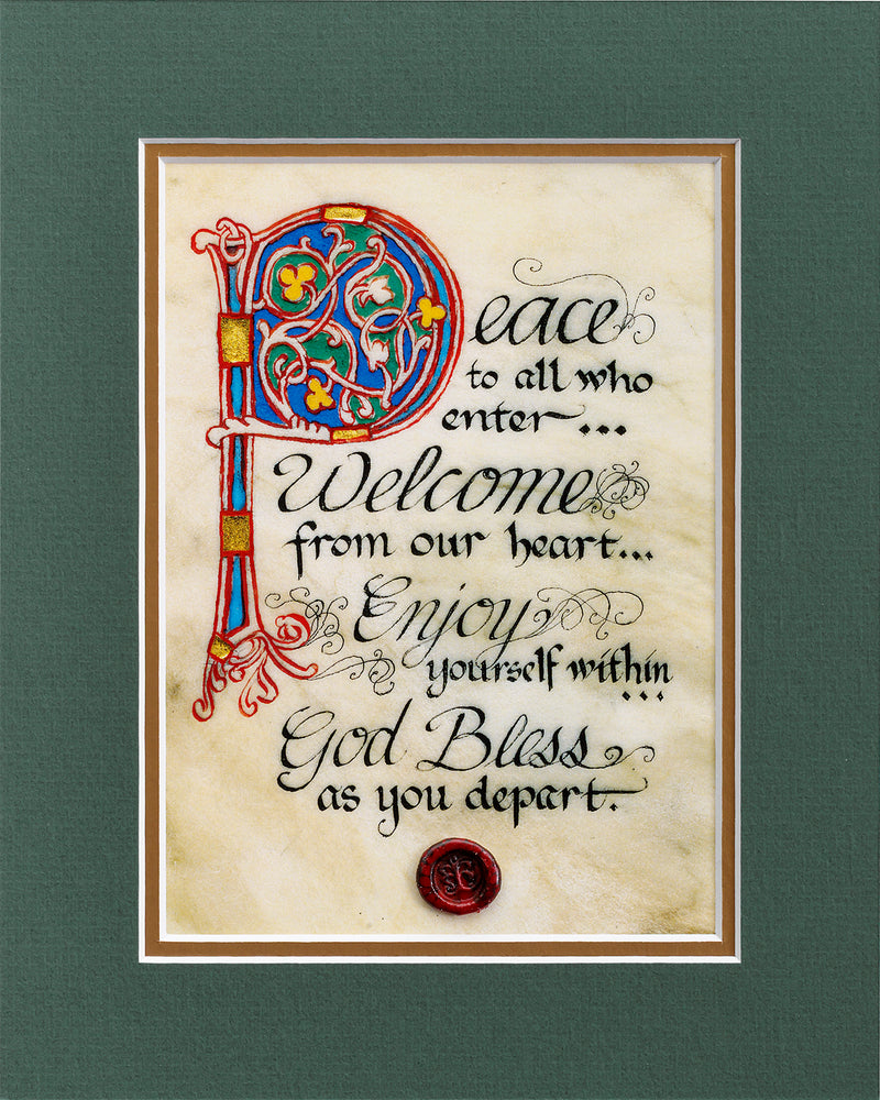 Peace To All Who Enter - Double Matted Celtic Art Print