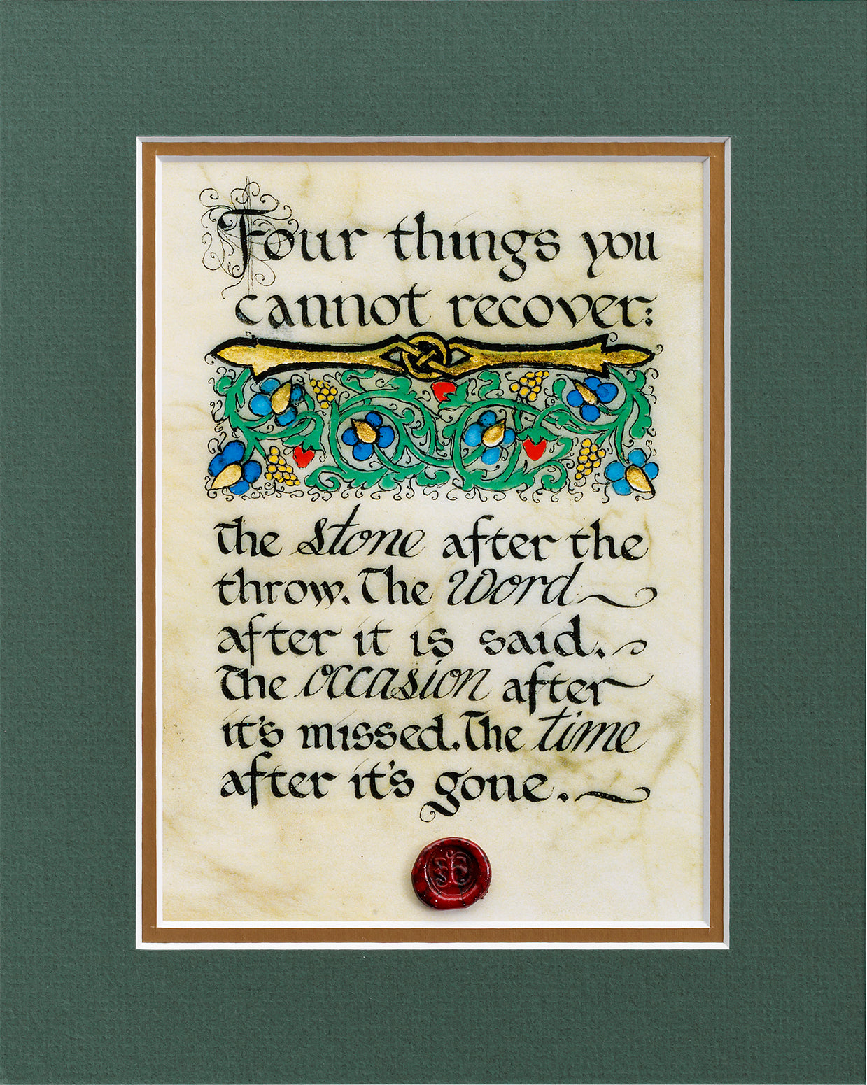 Four Things You Cannot Recover - Double Matted Celtic Art Print