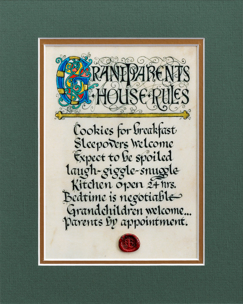 Grandparents House Rules - Double Matted Celtic Art Print