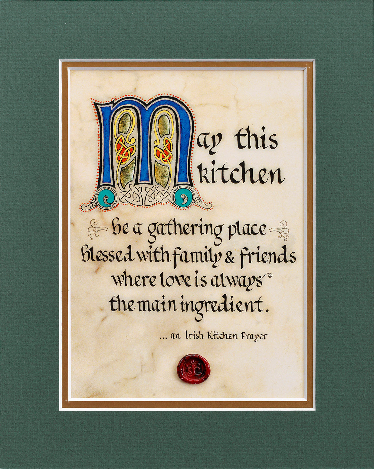An Irish Kitchen Prayer - Double Matted Celtic Art Print