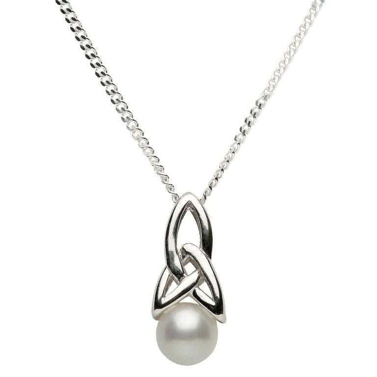 SPCP1 Celtic Silver Pearl Necklace by Shanore