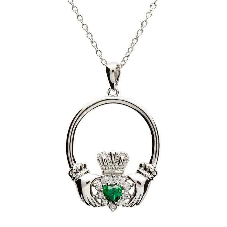 SP1079 Claddagh Sterling Silver and Green Stone Set Pendant by Shanore