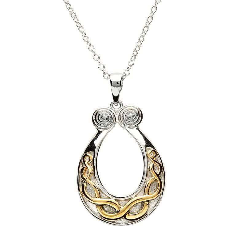 SP1087 Silver Celtic Knot Gold Plate Necklace