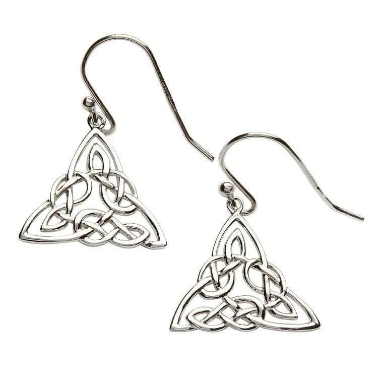 SE2002 Intricate Celtic Design Sterling Silver Earrings by Shanore