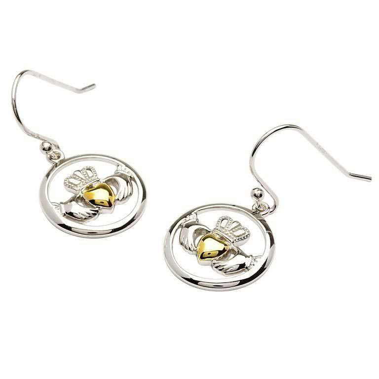 SE2009 Claddagh Gold Plate Silver Heart Earrings by Shanore