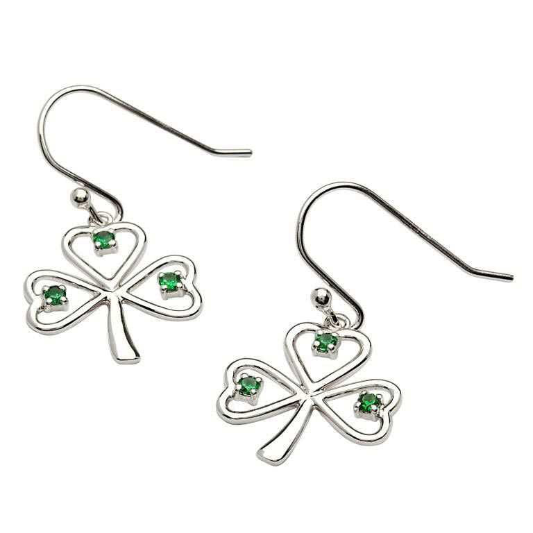 SE2014 Silver Stone Set Shamrock Earrings by Shanore