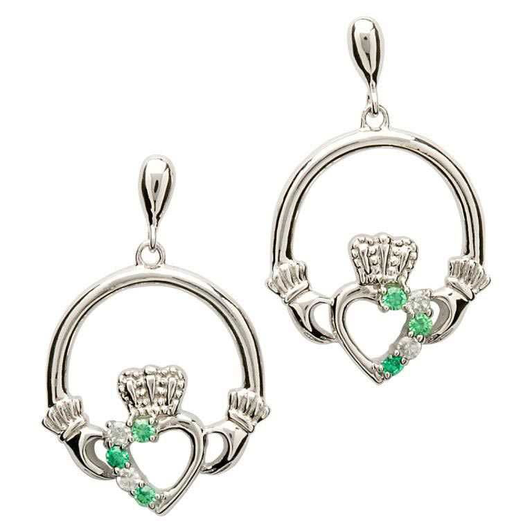 SE1053 Open Heart Claddagh Earrings w/ Green Crystals by Shanore