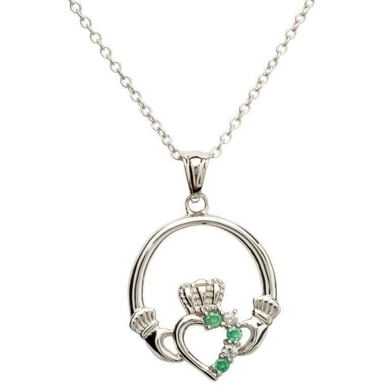 SP1053 Open Heart Claddagh Pendant w/ Green Crystals by Shanore