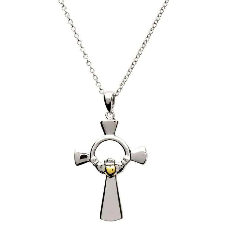 SF22 Claddagh Silver Cross with Gold Plate Heart by Shanore