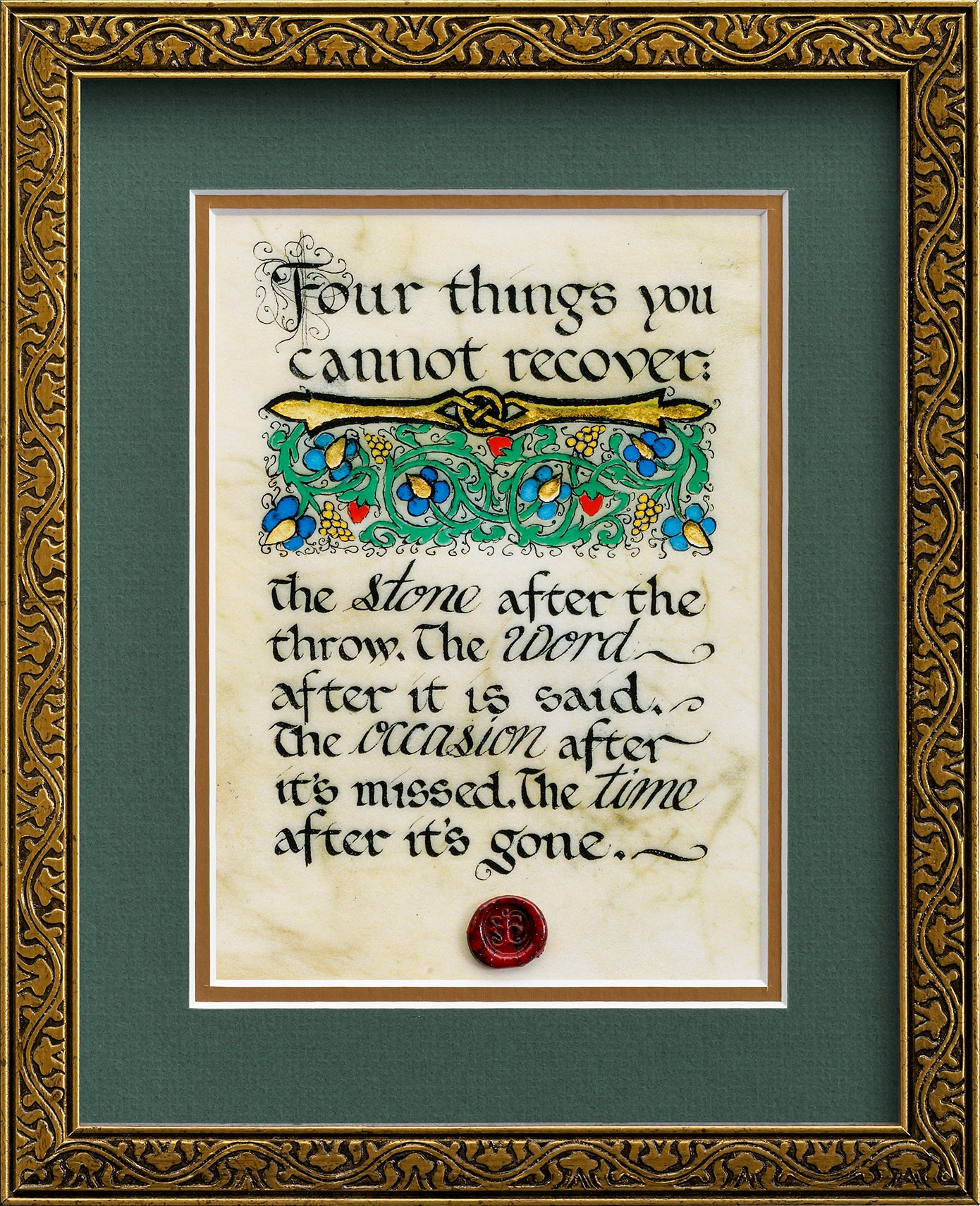 Four Things You Cannot Recover - Framed Celtic Art Print