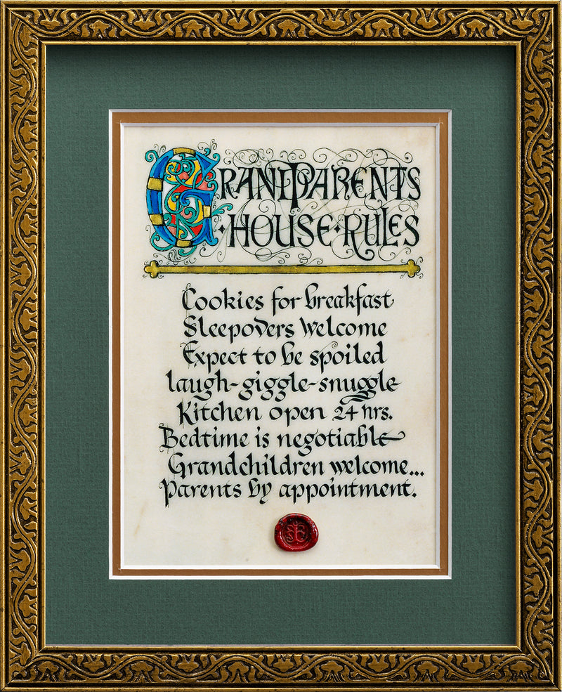 Grandparents House Rules  - Framed Celtic Art Print