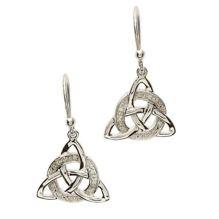 SE2026 Celtic Trinity Knot Diamond Set Earrings by Shanore