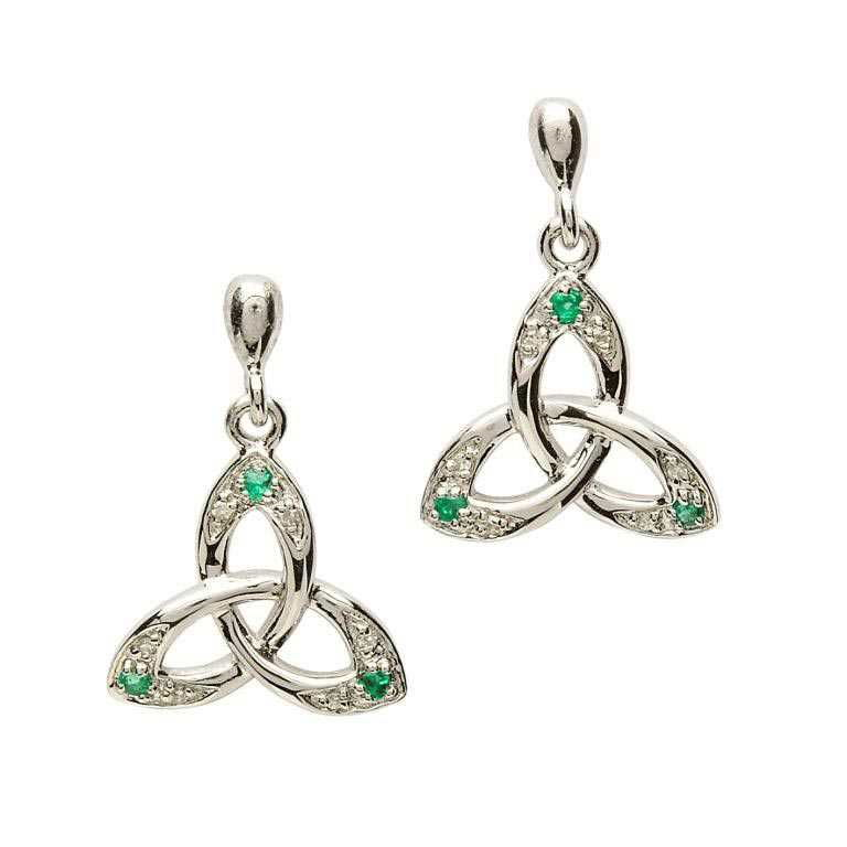 SE2028 Celtic Trinity Knot Earring Set with Emerald and Diamond by Shanore