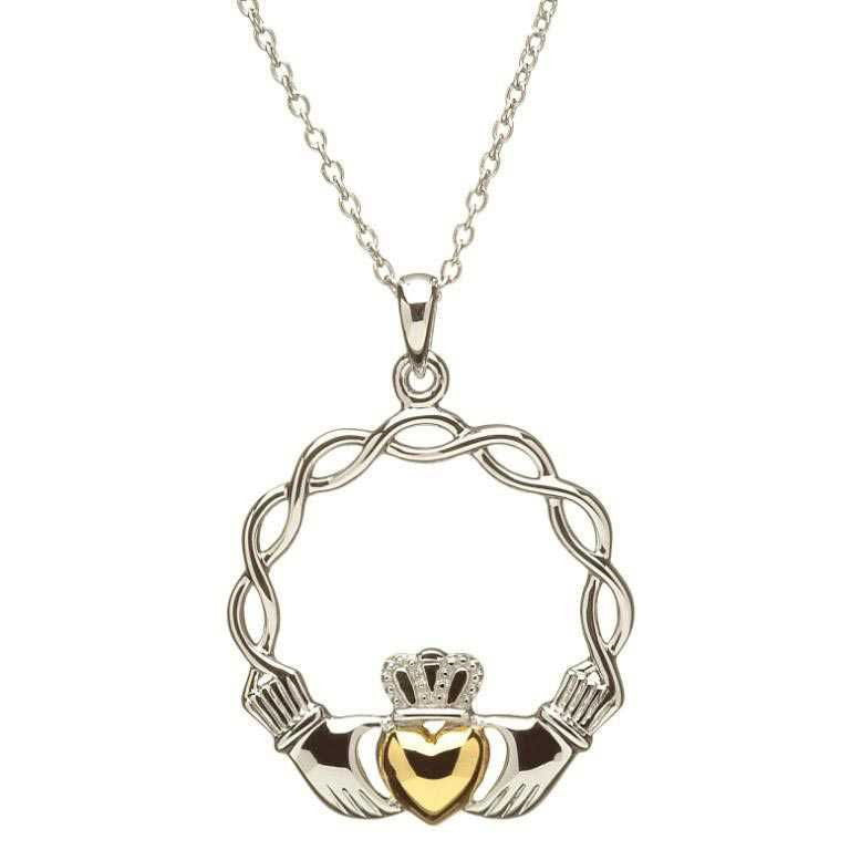 SP2045 Celtic Weave Claddagh Necklace with 14K Gold Heart by Shanore