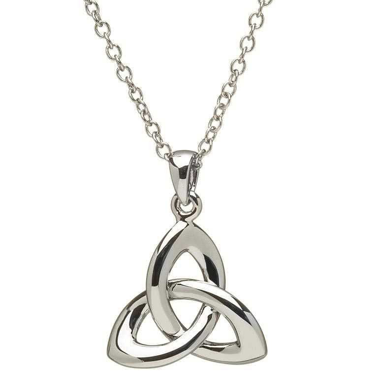 SP2033 Three Dimensional Sterling Silver Trinity Knot Necklace by Shanore