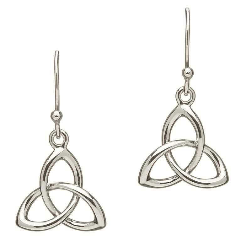 SE2034 Three Dimensional Sterling Silver Trinity Knot Earrings by Shanore