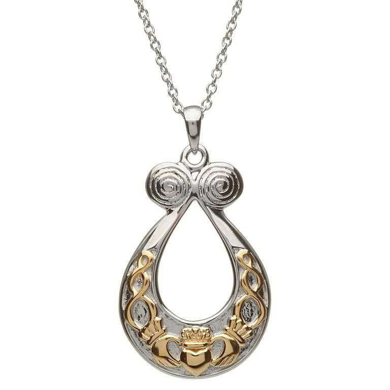 Horseshoe Shaped Necklace with Swirls and Claddagh in 14 K Gold by Shanore