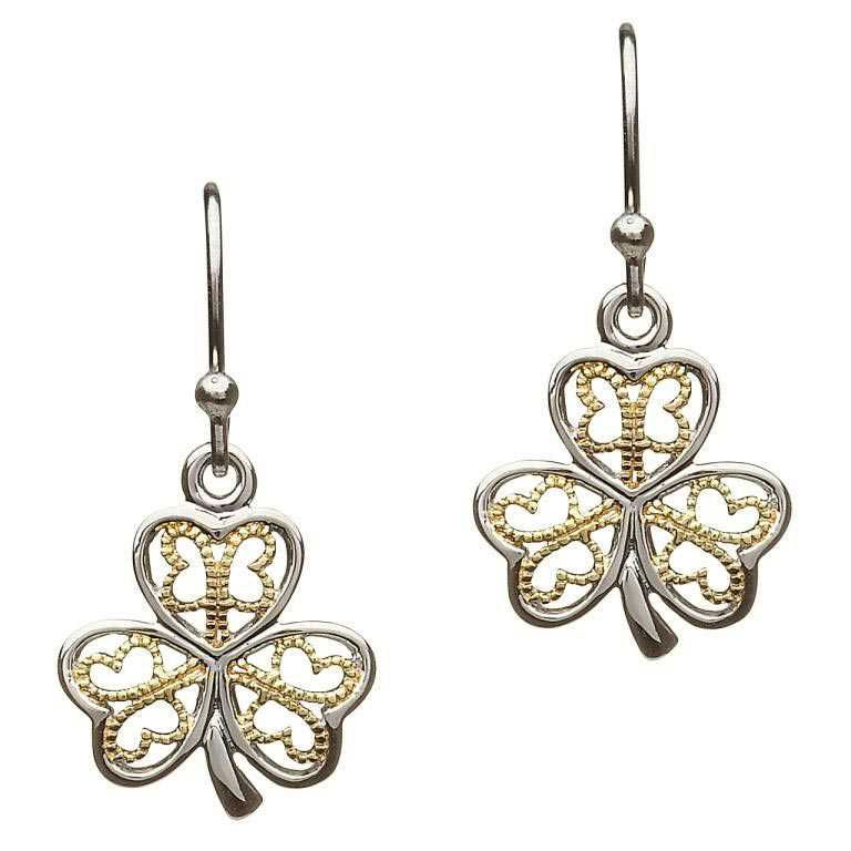 SE2052 Silver Filigree Shamrock Earrings by Shanore