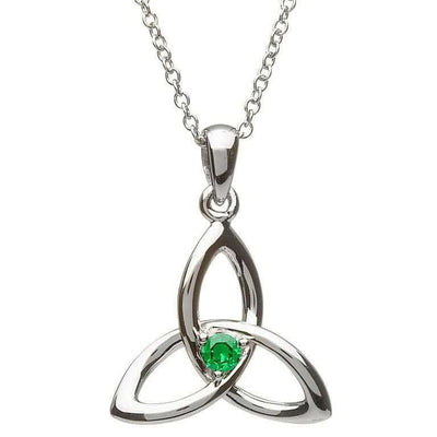 SP2053 Emerald Centered Three Dimensional Trinity Necklace by Shanore