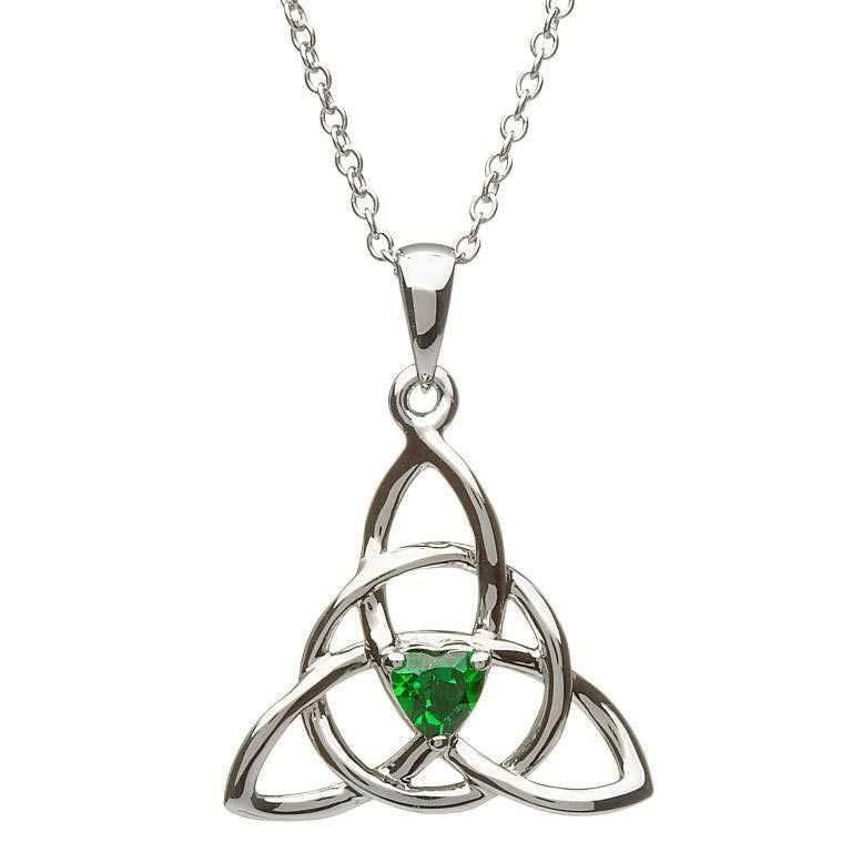 SP2055 Celtic Trinity Green Stone Set Necklace