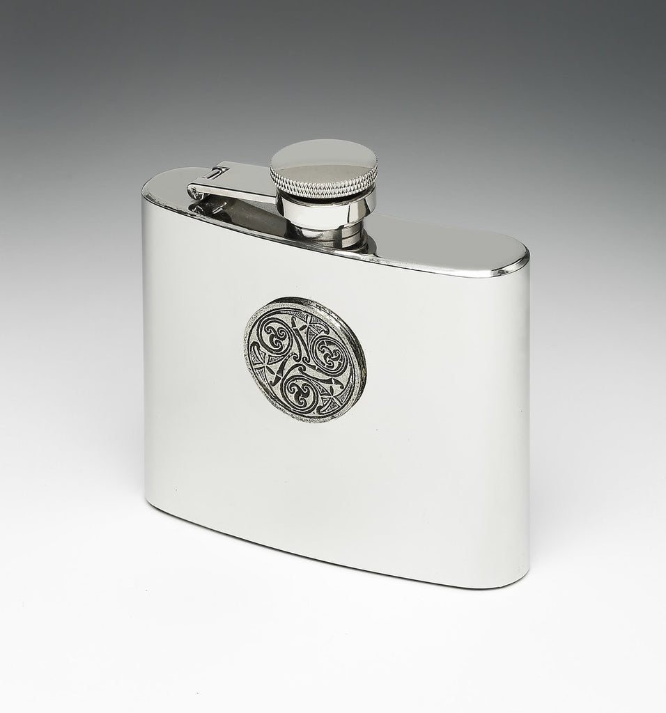 Whiskey Hip Flask with Celtic Spirals Design by Mullingar Pewter
