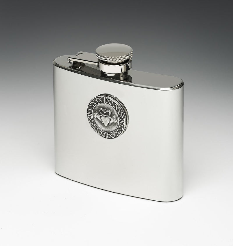 Whiskey Hip Flask with Claddagh Design by Mullingar Pewter