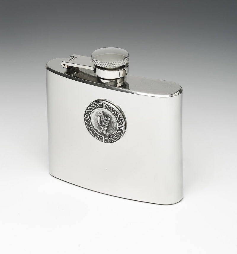 Whiskey Hip Flask with Harp Design by Mullingar Pewter