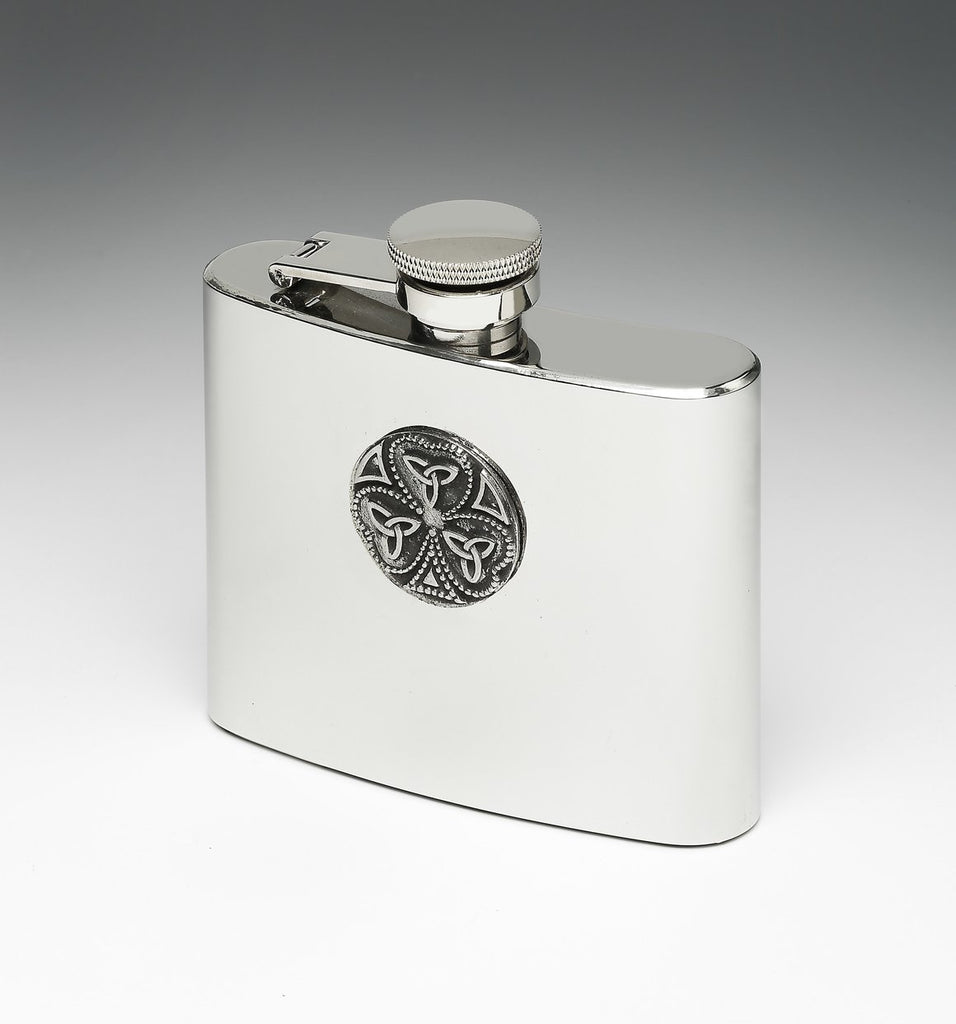 Whiskey Hip Flask with Shamrock and Trinity Knot Design by Mullingar Pewter