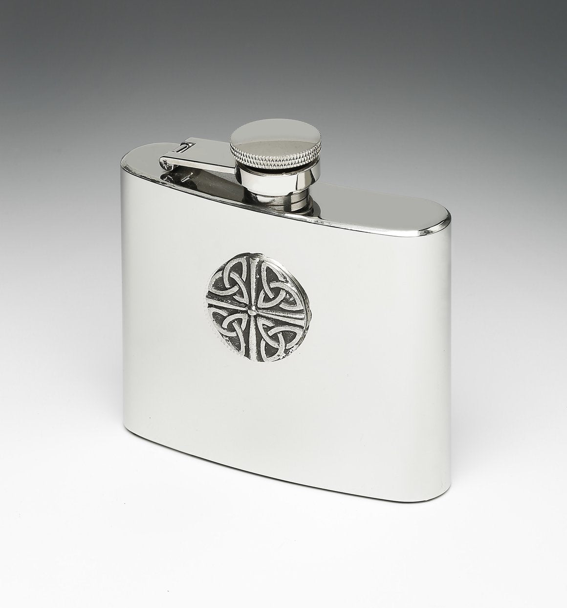 Whiskey Hip Flask with Multi Trinity Knot Design by Mullingar Pewter